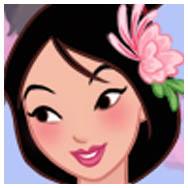 Viste a una chica oriental con un outfit del estilo de Mulán Disney, o un kimono con patrones coloridos.